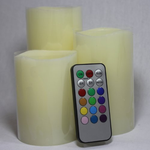 Bluedot Trading Flameless Ivory Pillar Candles With Remote Control, Multicolor, Set Of 3