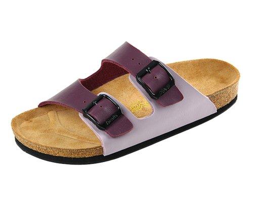 Devo Women's Pretty Double Strap Leather & Cork Slides Shoes Beach Sandals