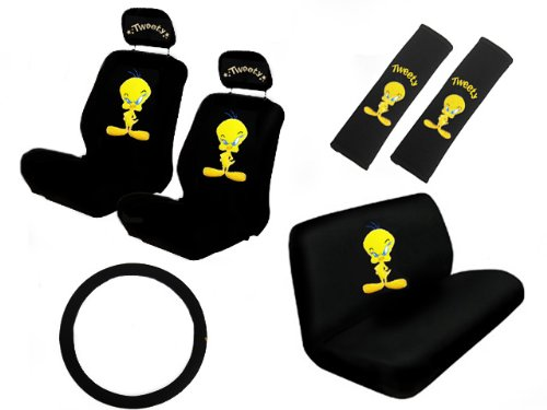 cheap seat covers new design 11 pieces tweety bird attitude logo car seat covers set includes. Black Bedroom Furniture Sets. Home Design Ideas