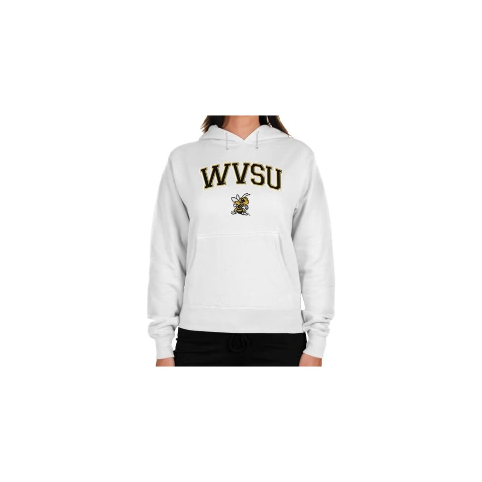 NCAA West Virginia State Yellow Jackets Ladies Logo Arch Applique Midweight Pullover Hoodie   White