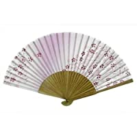 Japanese Silk Handheld Fan, Dandelions on Violet HF142