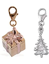 Women Pendant Set Of Two Gift Box Christmas Tree 925 Pure Sterling Silver Gold Silver Bracelet Necklace Charms