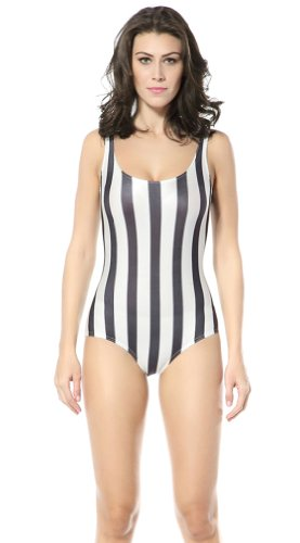 Ndb Black-White Strips Print One Piece Swimsuit Swimwear Beach Cloth