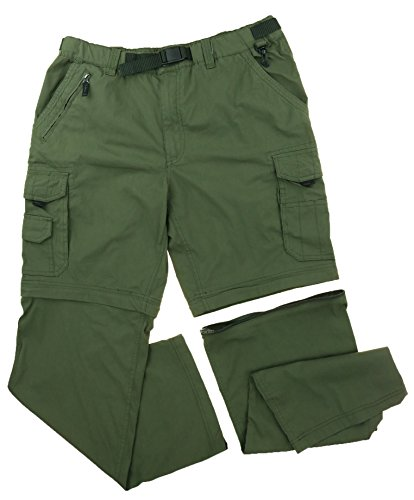 BC Clothing Mens Convertible Cargo Pant with Stretch, Relaxed Fit (MX30, Army) (Bc Clothing compare prices)
