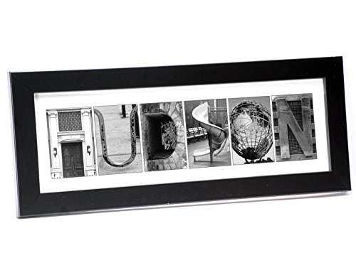 Creative Letter Art - Personalized Framed Name Sign with Black & White Architectural Metal Alphabet Photographs including Black Self Standing Frame (Letter Art Pictures compare prices)