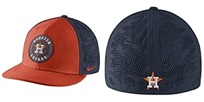 Nike Men's Houston Astros Dri Fit True Vapor Swoosh Flex Fitted Hat