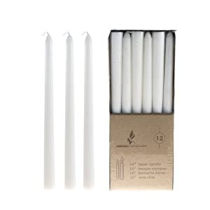 "Mega Candles - Unscented 10"" Taper Candles - White, Set of 12"