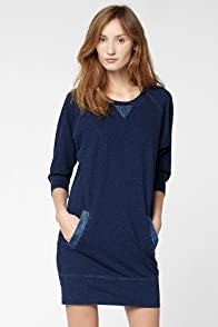 Raglan Sleeve Sweatshirt Dress With Denim Trim