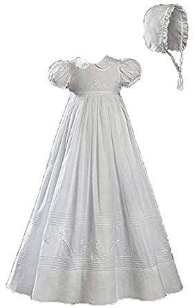 Short Sleeve Christening Baptism Gown with Floral Shamrock Embroidery, 12