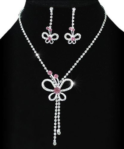 Pink Butterfly Elegant Crystal Sparkling Jewellery Necklace Earrings Set with PreciousBags Dust Bag