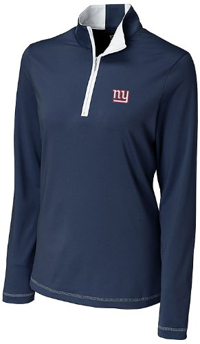 NFL New York Giants Women's CB DryTec Long Sleeve Choice Zip Mock Top, Navy Blue, Large at Amazon.com