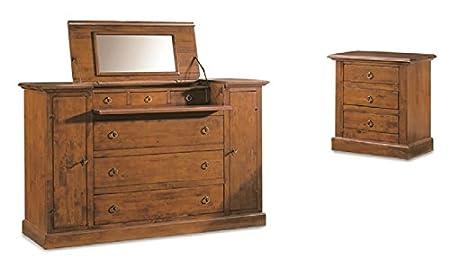 Set camera composto da comò e 2 comodini, stile classico, in legno massello e mdf con rifinitura in noce lucido