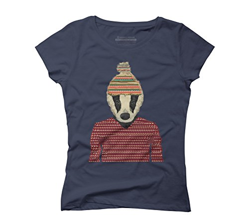 seb-the-badger-womens-medium-navy-graphic-t-shirt-design-by-humans