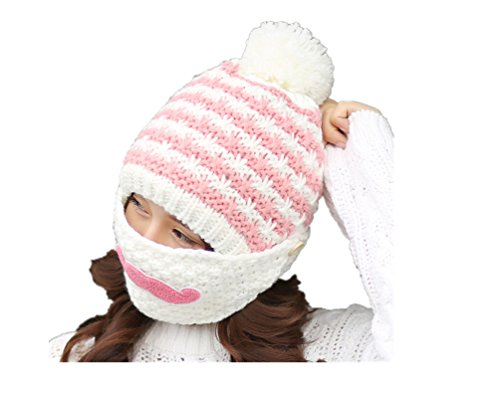 Girl winter Knitted hat Warm Woolen Ear cap with mask,white
