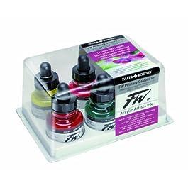 Daler-Rowney FW 29.5ml Acrylique Encre Bottle - Primary Couleurs (Ensemble de 6)
