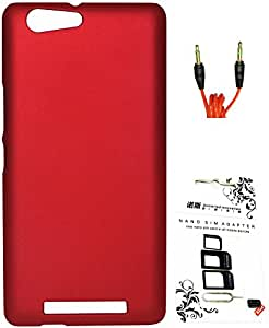 FCS Rubberised Hard Back Case For Gionee Marathon M5 With Sim Adaptor And 3.5mm 1 Meter AUX Cable