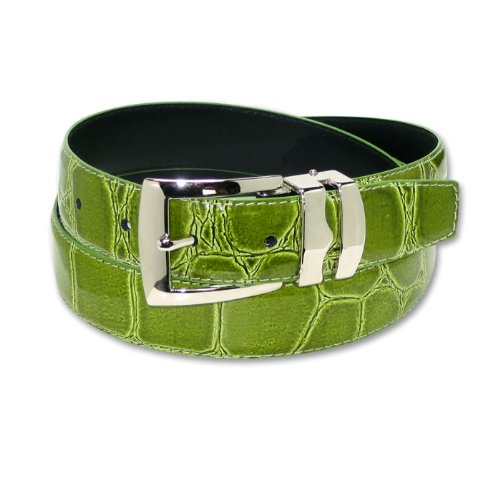 Croc CELERY LIME GREEN Bonded Leather Belt Silver-Tone Buckle sz 38