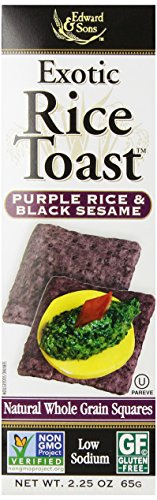 Edward & Sons Exotic Rice Toast, Purple Rice & Black Sesame, 2.25-Ounce Boxes (Pack of 12)