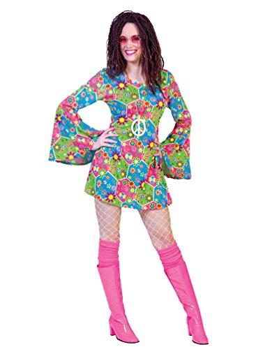 Pierro´s Kostüm Kleid Peaceful Damenkostüm Frauenkostüm Hippie Größe 52/54 für Karneval, Fasching, Party