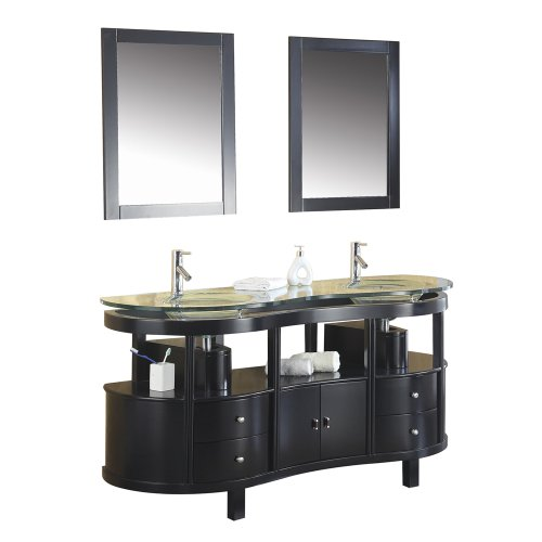 Virtu USA MD-6063 Ronde 63-Inch Double Sink Bathroom Vanity with Tempered Glass Countertop, Integrated Basins, Faucets and Two Mirrors, Espresso Finish