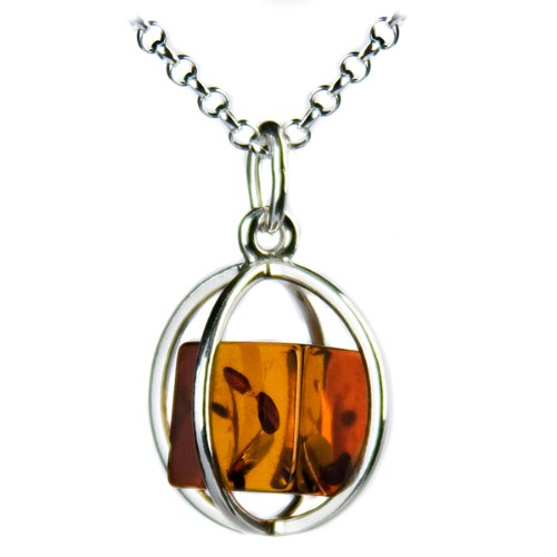Certified Genuine Amber Cube Millennium Collection Sterling Silver Necklace Rollo Chain 1mm 14″ 16″ 18″ 20″ 22″ 24″ 30″