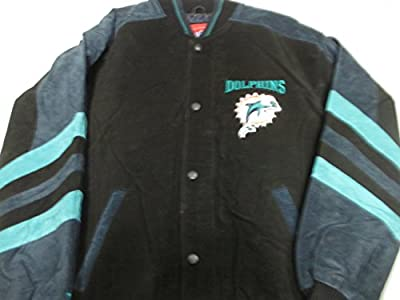 G-III Miami Dolphins Mens Medium Full Zip Embroidered Soft Leather Jacket ADOL 38 M