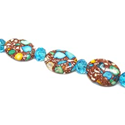 Fiona Gemstone Bead Strand, 18 by 24mm, Turquoise