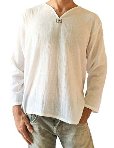 Men's White T-shirt 100% Cotton Thai Hippie Shirt V-neck Beach Yoga Top (Large)