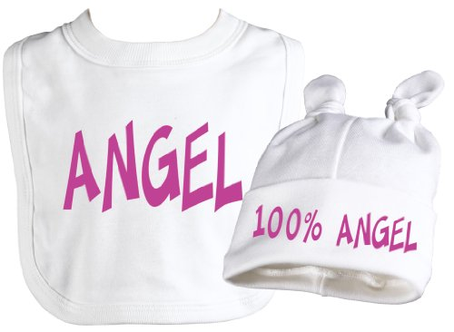 Spoilt Rotten - Angel Bib & 100% Angel Knot Hat Baby Set