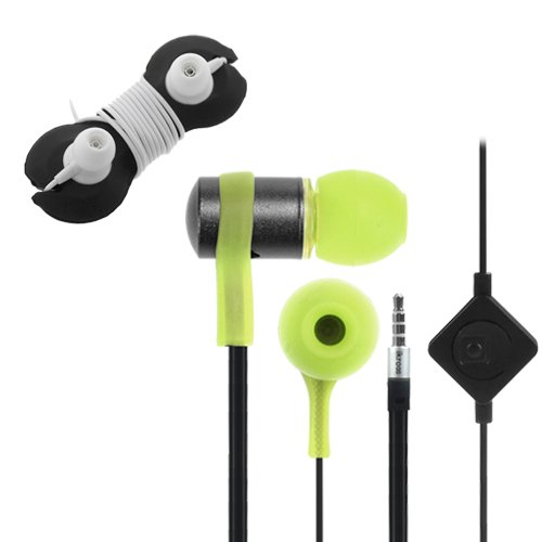 Ikross Green / Black In-Ear 3.5Mm Noise-Isolation Stereo Flat Cable Tangle Free Earbuds With Microphone + Headset Wrap For Acer Aspire Switch 10, Iconia One 7, Tab 7, B1-720, A1-830, A3-A10, B1-710, W3-810, A1-810, Tab A211 Tablet Cellphone Smartphone And