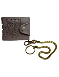 Apki Needs Designer Mens Brown Wallet And Golden Chain Keychain Combo