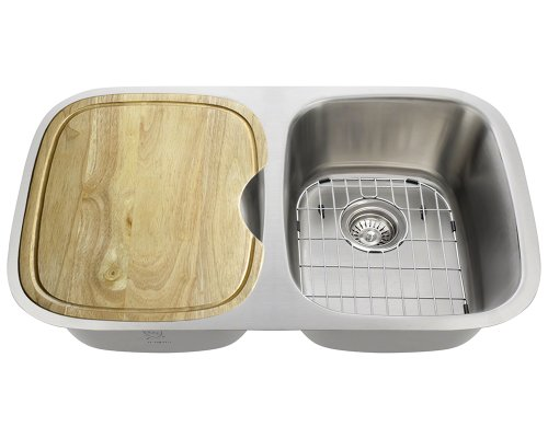 The Mr Direct 510 18 Gauge Kitchen Ensemble (Bundle - 6 Items: Sink, 2 Standard Strainers, 2 Sink Grids, And Cutting Board)