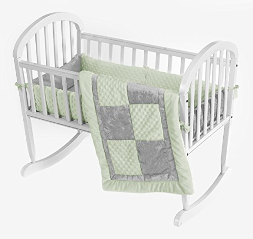 Baby Doll Croco Minky Cradle Bedding Set, Sage/Grey