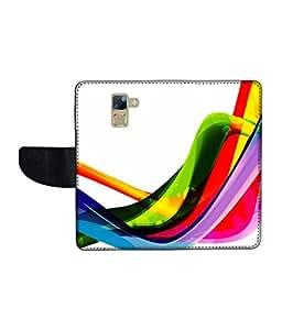 KolorEdge Printed Flip Cover For Huawei Honor 7 Multicolor - (1478-50KeMLogo12449Honor7)