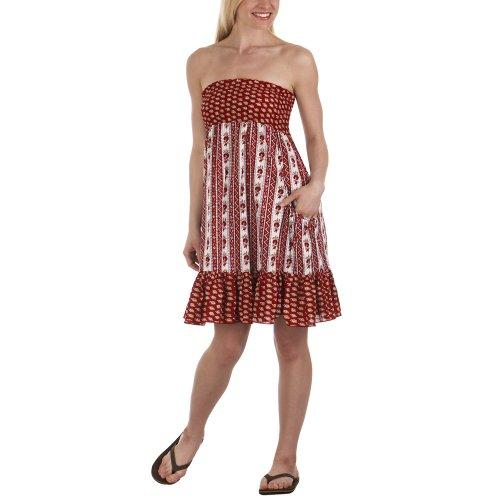 Red Tube Dress Smocked Bodice