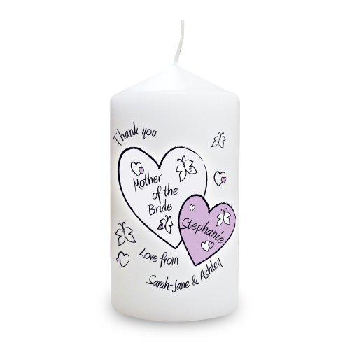 Butterfly Hearts Wedding Candle. This is a great product that can be personalised to your requirements ( please see main discription for full details ) Ideal gifts and presents for weddings, Christenings, Birthdays, Christmas etc...
