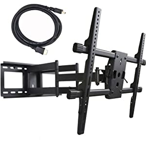 "VideoSecu Articulating Full Motion TV Wall Mount for 32""-65"" LED LCD Plasma TVs up to 165 lbs with VESA up to 684x400 mm, Dual Arm pulls out up to 25 Inch, with Leveling Adjustments, Bonus 10 ft HDMI Cable A37"