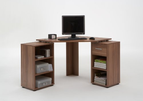 BAYERN Walnut Colour Wood Corner Computer / PC Work Station Table Desk with 5 Compartments and Drawer by DMF