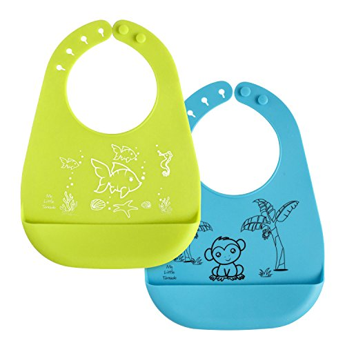 buy Silicone Baby Bibs with Crumb Catcher Food Pocket - Waterproof and Stain Resistant - Fun Cute Unisex Designs are Easy to Carry and Easy to Clean for sale