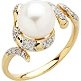 14K Yellow Gold 0.12 ct. Diamond and Fresh Water Cultured Pearl Ring