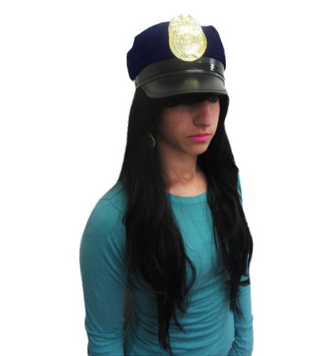 Blue Police Hat With Shiny Golden Police Badge For Costume