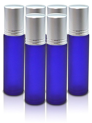 Elegant Frosted Glass Roller Bottles with Stainless Steel Roller Ball & Brushed Aluminum Cap 10 ML 6 pack. For Perfume - Lip Balm - Aromatherapy - Essential Oils - Deodorant SIMPLY ESSENTIAL SOLUTIONS