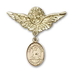 14K Gold Baby Badge with St. Walburga Charm and Angel with Wings Badge Pin