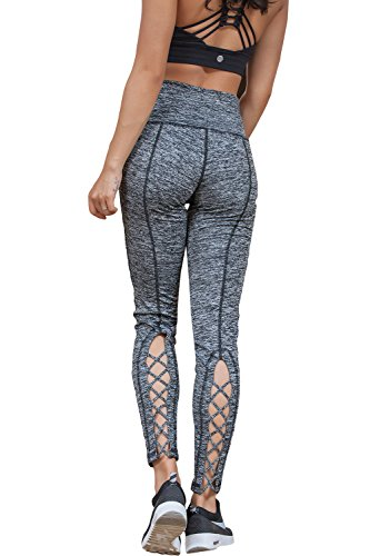 Womens Fashion Running Leggings Yoga Gym Pant With Woven Hollow Crossover Design (M, Gray) (Head Pure Joy compare prices)