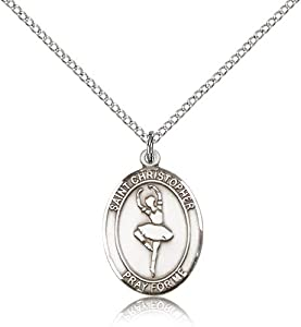 Sterling Silver Women's Patron Saint Medal of ST. CHRISTOPHER/Dance