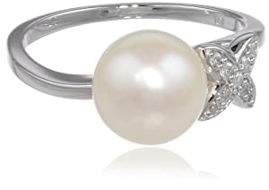 10k White Gold Freshwater Cultured Pearl Diamond Fashion Ring (0.06 cttw, G-H, I2 I3 Clarity) from Delmar Mfg LLC