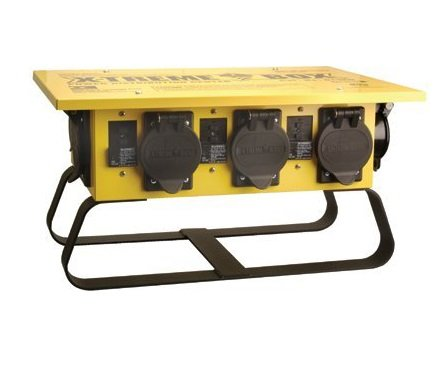 Southwire 019703R02 19703R02 Distribution Featuring 6 Straight Blade 1 Twist-Lock 30 Receptacle A Stackable, Portable Power Distributor Box for 50 amp, 125/250 Volt, 12,000 Watt, Yellow (Color: Yellow, Tamaño: 1 Pack)