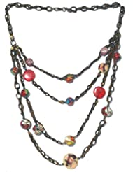 V3 Craft's Glass And Resin Beads With Suede And Metal Chain Necklace For Women