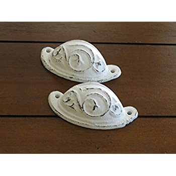 Dresser or Cabinet Knobs / Cast Iron Pulls / Antique White or Pick Color / Vintage Style Handles