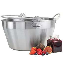 VonShef 9-Litre Graduated Stainless Steel Maslin Home Made Jam Pan With Handle